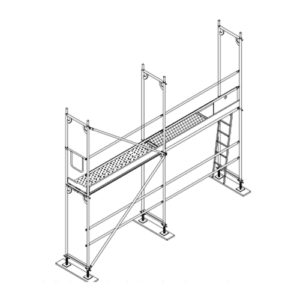 colocación plataforma escalera andamio fachada